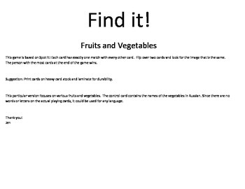 Find it!  Fruits and Vegetables