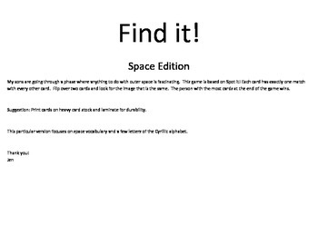 Find it! Space Theme