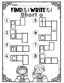 Find it! Write it! / Scoot CVC Short o