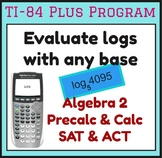 Find log of number with any base - TI-84 Plus Program SAT ACT Algebra 2 Precalc
