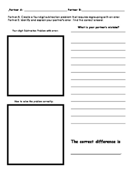 Find my Error 4-digit Subtraction Worksheet