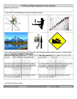Find slope given two points. All inclusive Slope Review