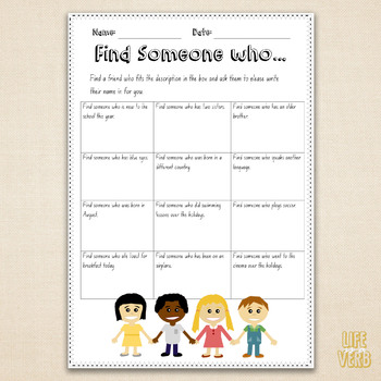 Find someone who... Great first day back ice-breaker for lower primary