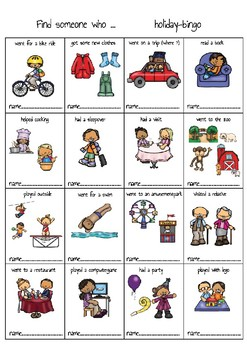 Find someone who has......holiday - bingo ; in English and Dutch