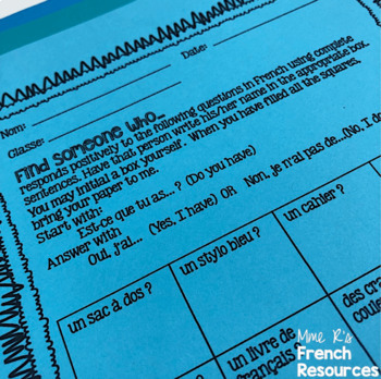 French speaking activity-Find someone who...French school supplies