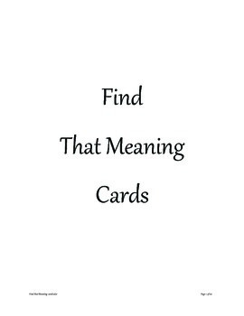 Find that Meaning Word Game
