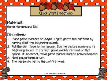 Find that Nut!:  No Prep Squirrel Themed Beginning Sounds Board Game