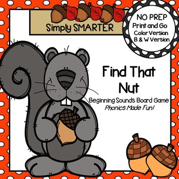 Find that Nut!:  No Prep Beginning Sounds Board Game