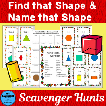 Find that Shape and Name that Shape Scavenger Hunts 2 comp