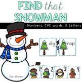 Find that Snowman - Number Recognition to 100, CVC Words, and Alphabet Cards