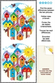 Find the 7 Differences Picture Puzzle - Birdhouses, Commercial Use Allowed