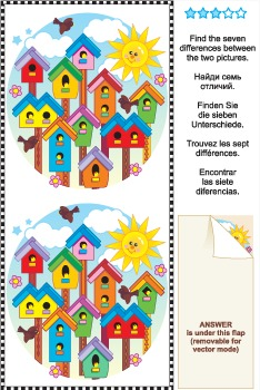 Find the 7 Differences Picture Puzzle - Birdhouses, Commer