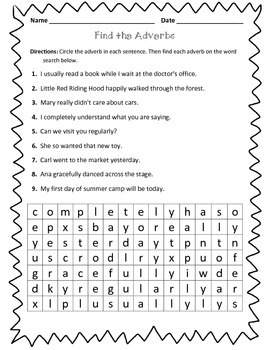 adverb worksheet find the adverbs by learning is lots of fun tpt. Black Bedroom Furniture Sets. Home Design Ideas