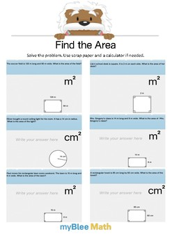 Find the Area 1.6 - Solve the problem - Gr 4/6