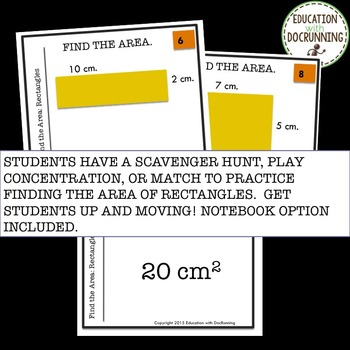 Area of rectangles Task Card Activity