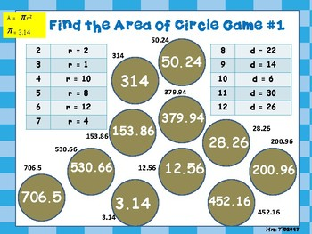 Find the Area of a Circle - a BUMP game