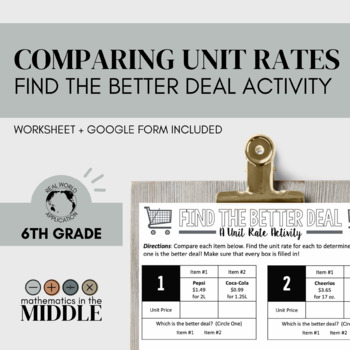 Find the Better Deal (A Unit Price Activity)