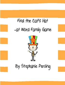 Find the Cat's Hat -at Word Family Game