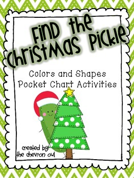 Find the Christmas Pickle Colors and Shapes Pocket Chart A