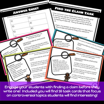 Find the Claim! Task Cards