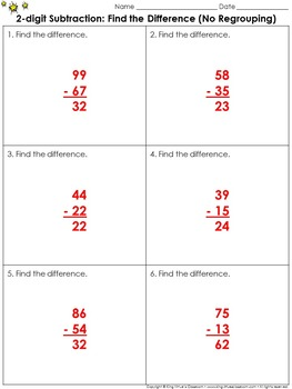 Find the Difference (No Regrouping): 2-digit Subtraction Practice Sheets