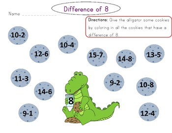 Find the Difference: Subtraction Printables for Differences 2-8