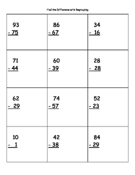 Find the Difference with Regrouping (2-digit Numbers) Subtraction Practice