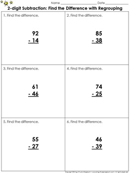 Find the Difference with Regrouping: 2-digit Subtraction Practice Sheets