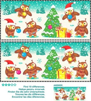 Find the Differences – Owls Trimming the Christmas Tree, Commercial Use Allowed