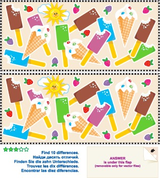 Find the Differences Picture Puzzle – Ice-Cream, Commercia