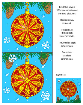 Find the Differences Picture Puzzle with Christmas Ornament, Commercial Use