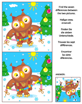 Find the Differences Picture Puzzle with Christmas Owl 2, Commercial Use Allowed