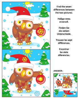 Find the Differences Picture Puzzle with Christmas Owl, Commercial Use Allowed