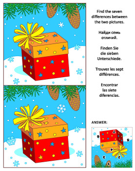 Find the Differences Picture Puzzle with Gift Box, Commercial Use Allowed