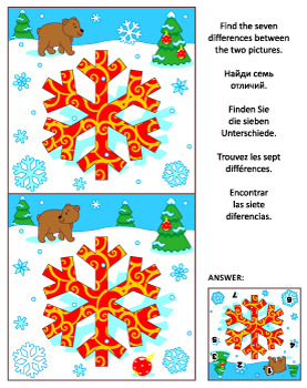Find the Differences Picture Puzzle with Snowflake, Commercial Use Allowed