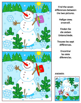 Find the Differences Picture Puzzle with Snowman, Commercial Use Allowed