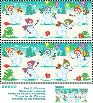 Find the Differences – Playful Snowmen, Commercial Use Allowed