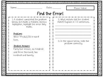 Find the Error! Numeration Error Analysis Activity