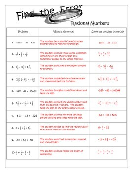 Find the Error - Rational Number Operations