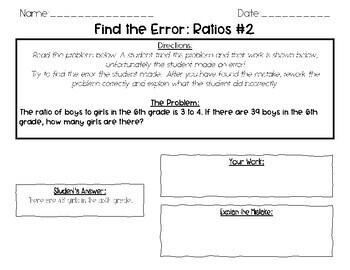Find the Error: Ratios