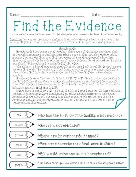 Find the Evidence Activity - PSSA Practice