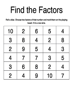 Find the Factors free printable board game