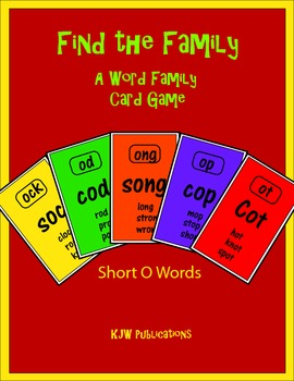 Find the Family Card Game - Short O words - 8 pages