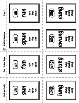 Find the Family - Card Game - Short U Word Family  - 10 pages - PDF