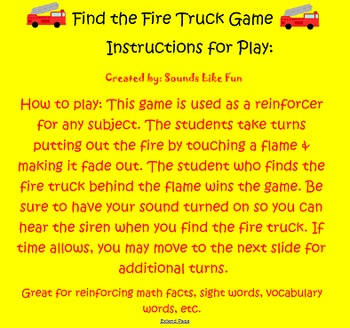 Smartboard Game FREE: Find the Fire Truck