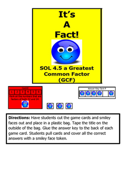 Math VA SOL 4th Greatest Common Factors