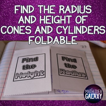Find the Height and Radius Formula Foldable