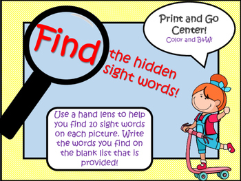 Find the Hidden Sight Words Center