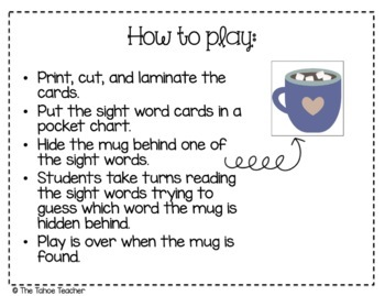 Find the Hot Chocolate: A Sight Word Freebie
