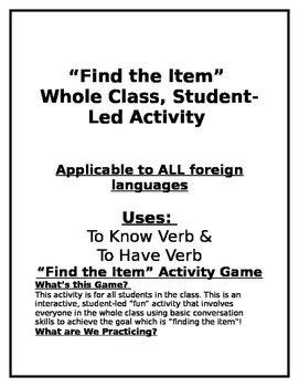 Find the Item Speaking Activity - All Foreign Language